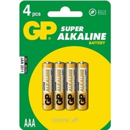 Батарейку, аккумулятор (AA/AAA/C/D) GP Batteries AAA bat Alkaline 4шт Super (24A)