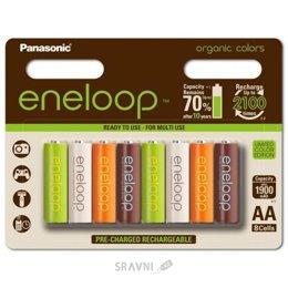 Батарейку, аккумулятор (AA/AAA/C/D) Panasonic AA 1900mAh NiMh 8шт Eneloop Organic Colors (BK-3MCCE/8RE)