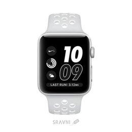 Умные часы, браслет спортивный Apple Watch Nike+ 42mm Silver Aluminum Case with Pure Platinum/White Nike Sport Band (MQ192)