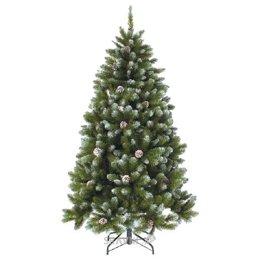 Искусственную новогоднюю елку, сосну Triumph Tree Ель Императрица с шишками заснеженная 1,85 м